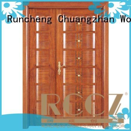 OEM white double doors veneer solid glass interior double doors