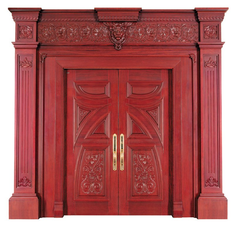 D017Y Interior pure solid double wooden door