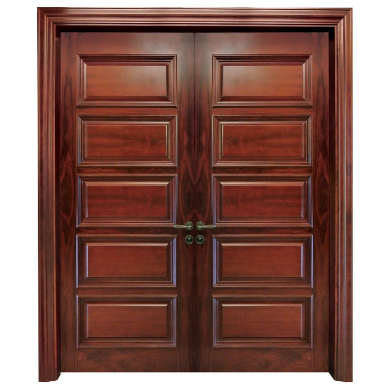 X053 double Interior veneer composited modern design wooden door
