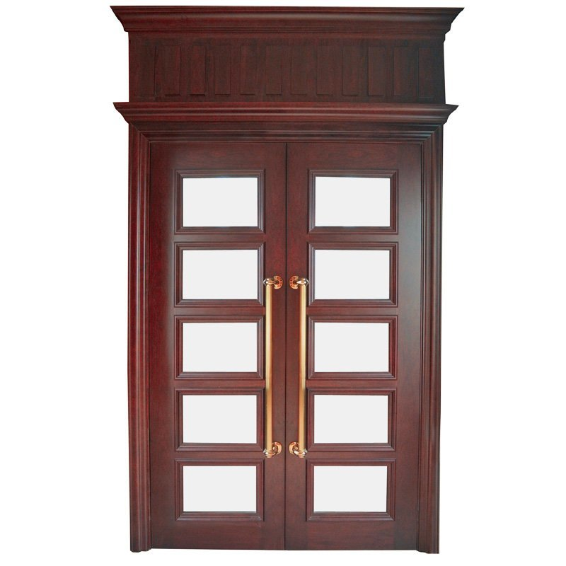 X053-3  double glass Interior veneer composited modern design wooden door