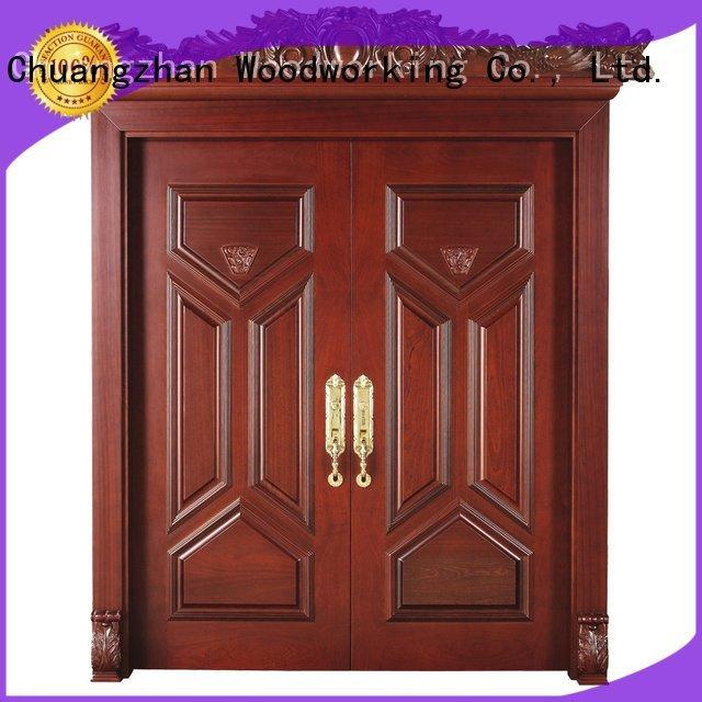 pure solid interior double doors glass Runcheng Woodworking
