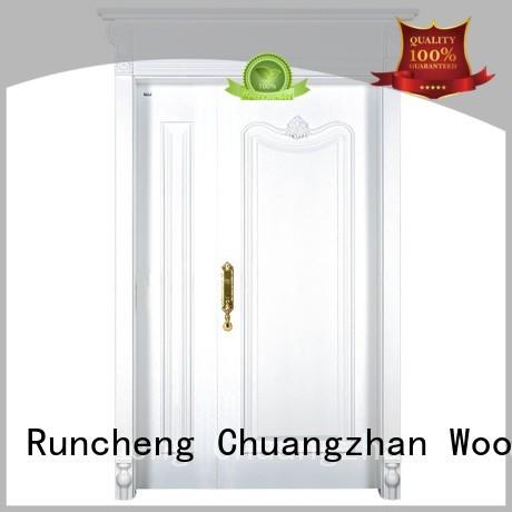 Runcheng Woodworking Brand veneer interior double doors glass factory