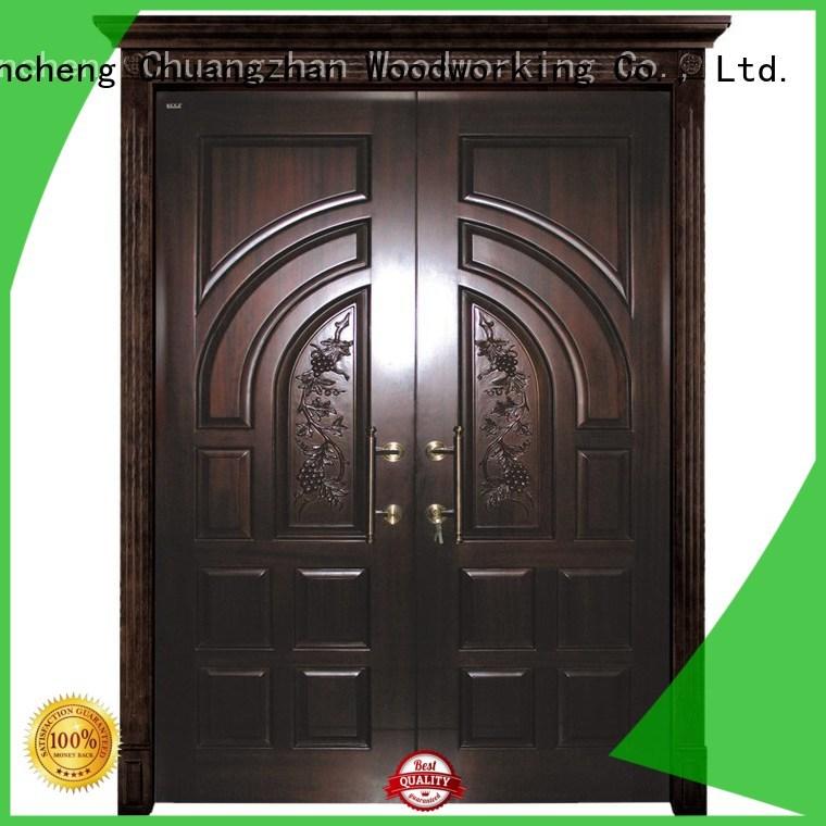 Runcheng Woodworking Brand glass wooden hot sale custom interior double doors