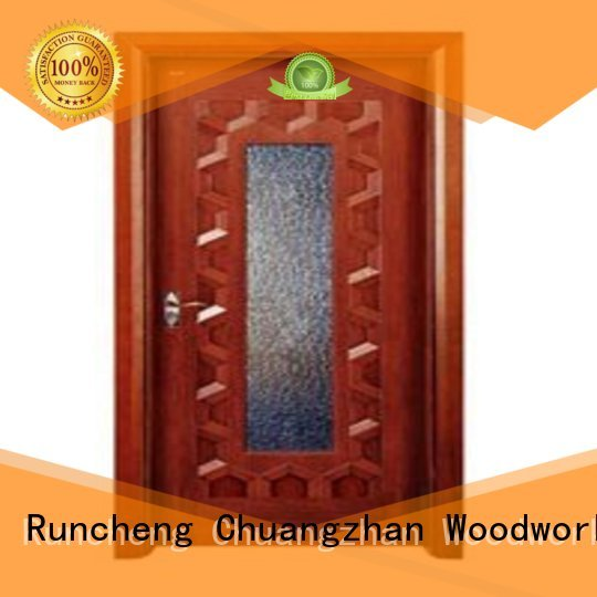 door wooden double glazed doors durable glazed Runcheng Woodworking company
