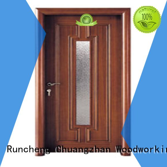 glazed door door Runcheng Woodworking wooden glazed front doors