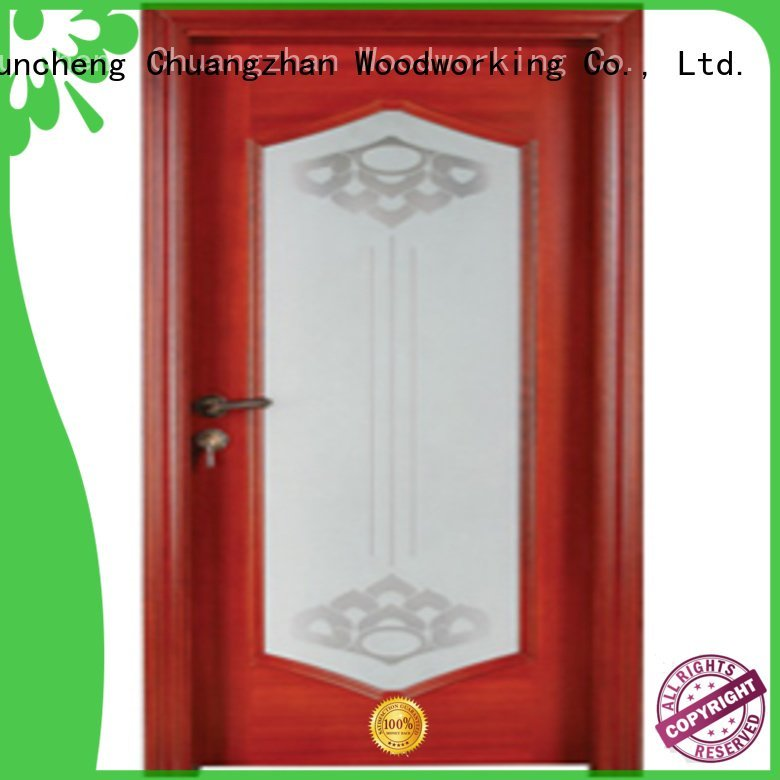 Hot wooden glazed front doors pure solid wood Runcheng Woodworking Brand