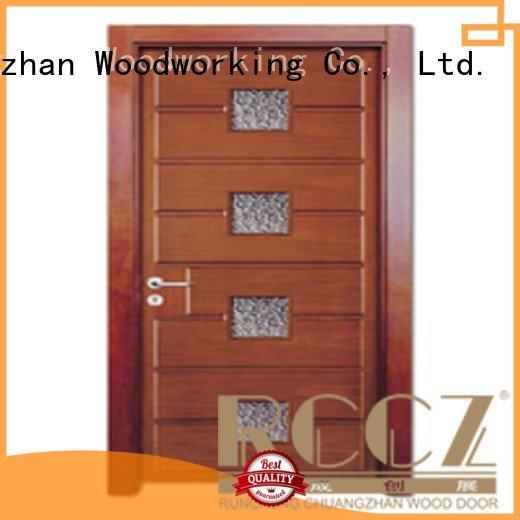 wooden glazed front doors glazed wooden double glazed doors Runcheng Woodworking Brand