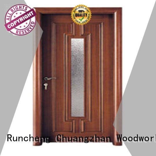 Quality wooden glazed front doors Runcheng Woodworking Brand door wooden double glazed doors