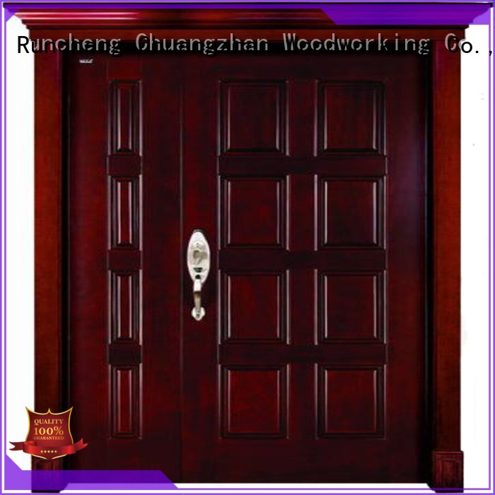 s003 wooden double doors Runcheng Woodworking double leaf solid wood door
