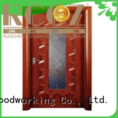 wooden glazed front doors door glazed wooden double glazed doors Runcheng Woodworking Brand