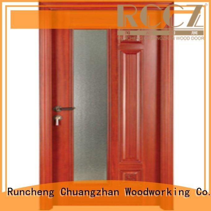 Runcheng Woodworking Brand door wood wooden glazed front doors solid s0073