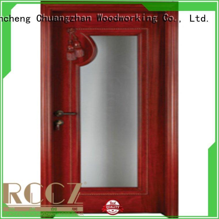wood door Runcheng Woodworking wooden glazed front doors