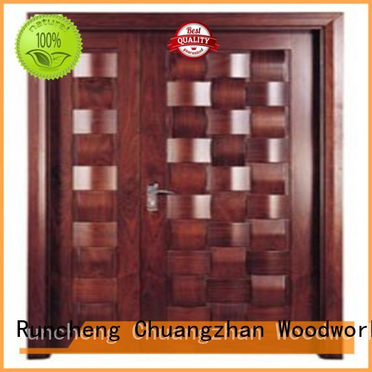 double solid quality door Runcheng Woodworking Brand white double doors manufacture