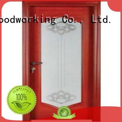door wood wooden double glazed doors pure Runcheng Woodworking Brand