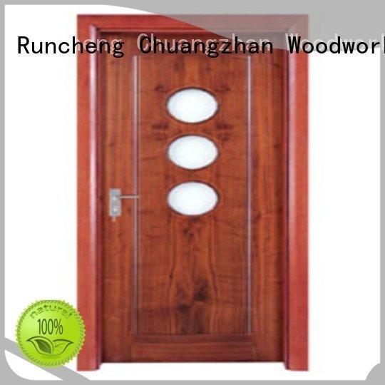 door glazed Runcheng Woodworking wooden double glazed doors